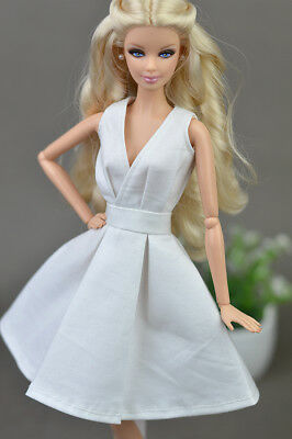 White Fashion Clothes/outfit lovely Dress for Barbie doll S02U