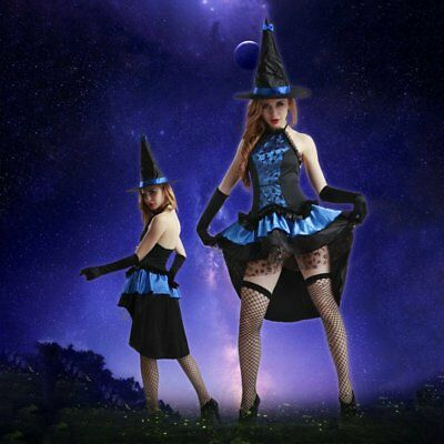 Halloween Costumes Cosplay Womens Black Witch Hat Suit Uniform Temptation MO