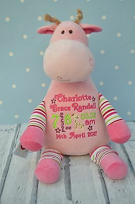 personalised embroidered pink Teddy Bear giraffe new baby gift christening gift