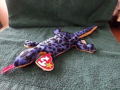 Mwmt Errors Ty Beanie Baby Lizzy The Lizard Pvc Pellets Mint With Mint Tag