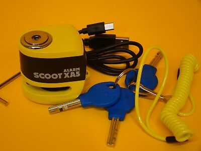 Oxford Motorcycle Scooter 5.5Mm Pin Alarm Disc Lock Xa5 110Db Usb Charged Yellow