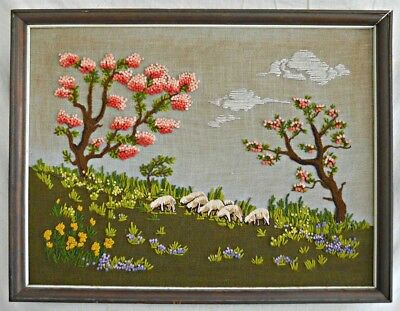 Vintage Needlework Magnolias Sheep Spring Landscape Southern Dixie Confederate