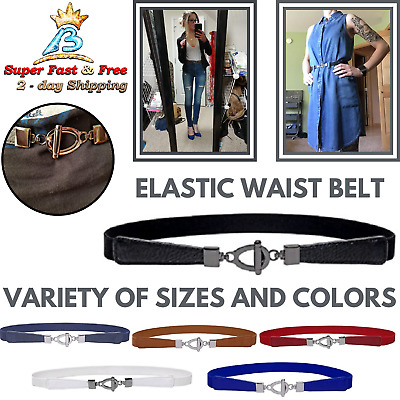 Elastic Belt For Women Cinch Thin Stretch Belt Womens Accessories Metal Buckle