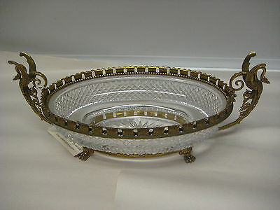 Beautiful Bronze And Cut Crystal Centerpiece With Handles