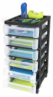 Black Rolling 6 Drawer Cart Plastic Mobile Office Supply Storage Arts Crafts