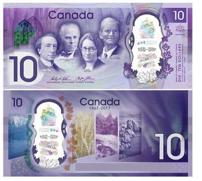 Canada 150 Anniversary 10 Dollar Polymer Bill Bank Note UNC [NEW MINT]
