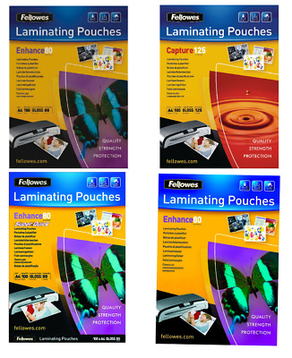Fellowes A4 Glossy and Matte Laminating Pouches 160 or 250 microns