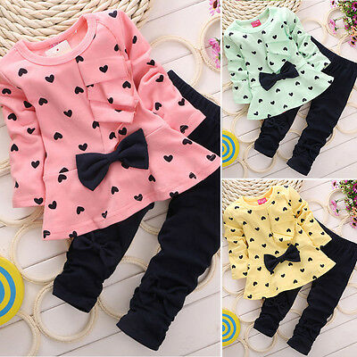 2Pcs Toddler Baby Girls Kids Bowknot T-shirt Sweatshirt Dress Pants Outfits Set
