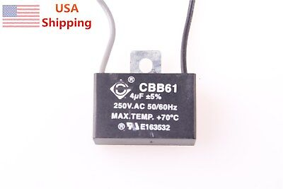 CBB61 250V AC 4uf 2 Wire Start Capacitor for Ceiling Fan