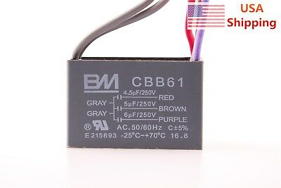 1x or 2x HQRP Ceiling Fan Capacitor 5uF+6.5uF+6.5uF 5-Wire CBB61 Replacement