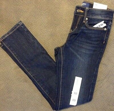 Girls Size 10 Dark Blue Straight leg Skinny Jeans NEW Old Navy