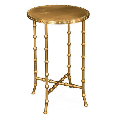 Chinoiserie Brass Bamboo Accent Table Antique Hollywood Regency New $417