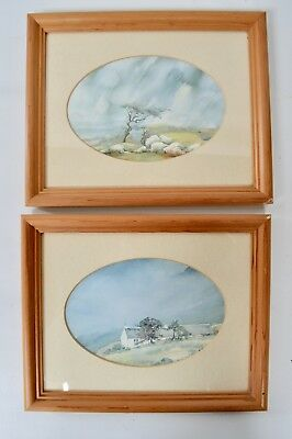 Pair of Framed Welsh Cottage Snowdonia Mountain Countryside Watercolour Print