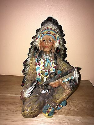 hand painted native american indian statue 7''