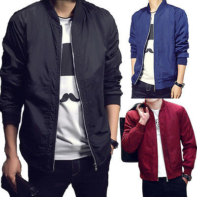 Men Padded Bomber Jacket Bike Motorcycle Coat Zip Up Slim Fit Outwear Streetwear