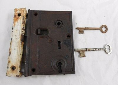 Antique Cast Iron R H CO Rim Surface Door TWO KEY Lock - Keys - Keeper