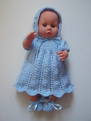 4 pce Blue Hand Knitted Dolls Clothes. 35-37cm 14-15in.