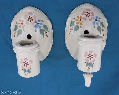 Antique Pair Floral Porcelain Wall / Sconce Fixture