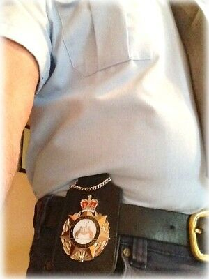 Badge & ID Holder - For your Belt or Neck - THICK LEATHER - Badge not Included