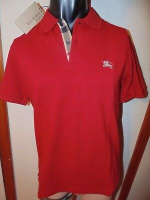 Burberry Brit men's military red short sleeve nova check placket polo shirt s,m