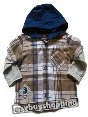 Brown Check Mock Hoodie Cotton Winter Baby Boys Shirt