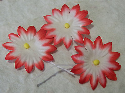 100 x 25mm RED WHITE FLOWERS MPFF9RW::: Scrapbook Christmas Card embellishments
