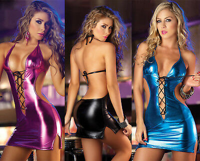 Vestito Mini Abito Simil Latex PVC Lucido Aderente Mistress Capestro al Collo