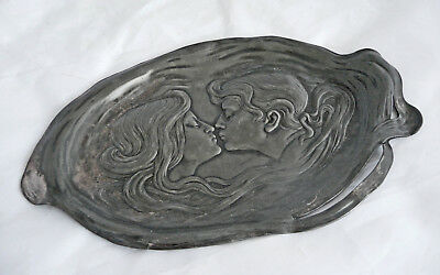 Magnificent Wmf Jugendstil Pewter Card Tray.  1906 Wmf Catalogue N0.196