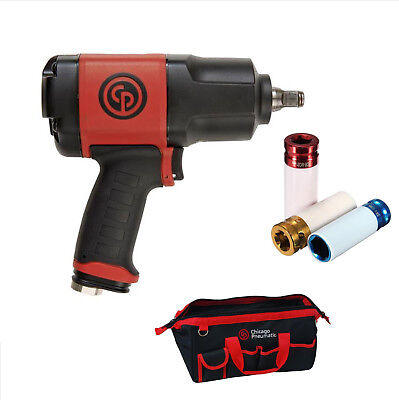 """Chicago Pneumatic CP7748-SET 1/2"""" Impact Wrench With 3 Sockets And Storage Bag"""