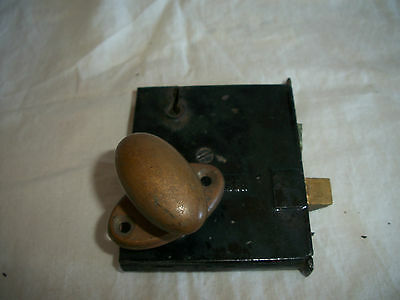 Vintage Norwalk Lock Co Door Lock & Brass Knob Handle Hardware