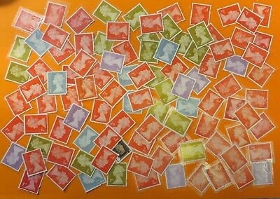100 Unfranked 1st Class Stamps Off Paper Peel + Stick (with minor faults) #600