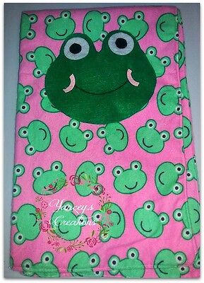Handcrafted toddler and girls scarf with felted frog face winter spring sz2-6yrs