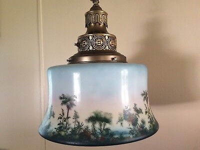 Vintage Large Hanging Light Chandelier 1920s Painted Scene Albert Wahle Co. NY