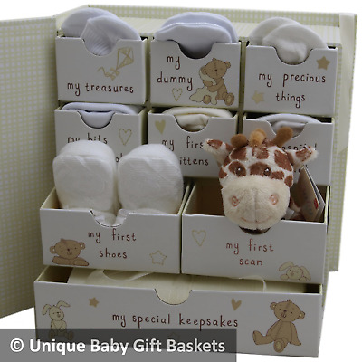 Baby gift basket baby hamper packed keepsake box with drawers unisex neutral