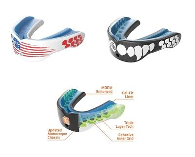 Shock Doctor Gel Max Power YOUTH / ADULT Convertible Mouthguard USA Flag / Fangs