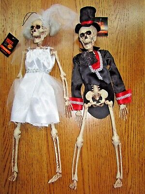 Halloween Skeleton Bride & Groom-Not Even Death Do They Part-Set Of 2-New W/tag!