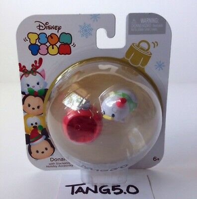 New Disney Tsum Tsum Donald Duck With Stackable Holiday Accessory Red Ornament