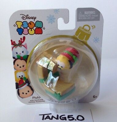 New Disney Tsum Tsum Pluto With Stackable Holiday Accessory Gold Star NIP