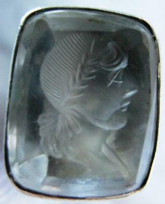 White Metal Intaglio Seal of Roman Head in Glass or Rock Crystal
