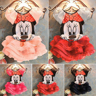 Kids Girls Disney Minnie Mouse Fancy Dress Tops + Tutu Dress Outfit Set Costume
