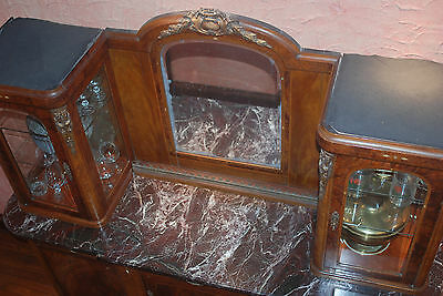 Antique French Inlaid Buffet/Server with China Cabinet