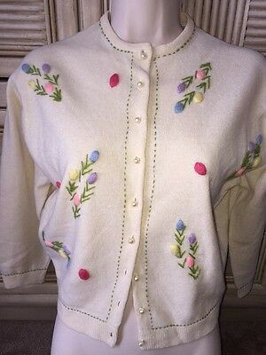 Vintage 50's Pin Up Wool Cardigan Sweater Embroidered Size 42