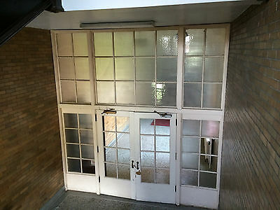Metal Wrapped Old School Entryway with Double Doors w/ Chicken Wire & Trasnsoms