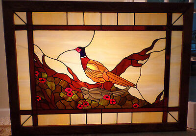 Stained Glass Pheasant In Woods Picture / Window