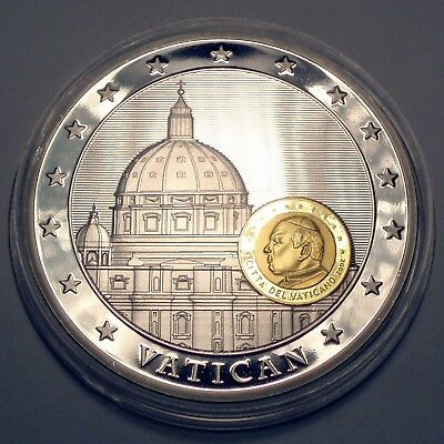 VATICAN 10 Years Economic and Monetary Union BU Proof Medal 50mm 52g Silver an..
