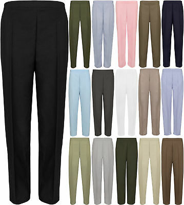 Ladies Womens Half Elasticated Stretch Waist Work Trousers Pockets Pants UK 8-26
