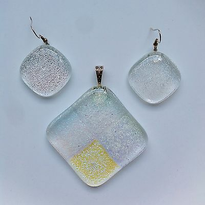 NEW Fused Dichroic Glass Jewelry Pendant & Earring Set Handmade
