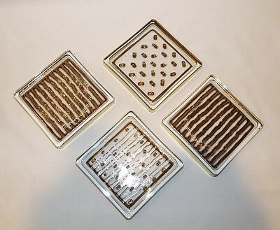 "4 MID CENTURY SMYERS GLASS DRINK COASTERS GOLD BARWARE Embossed with ""Smyers"""