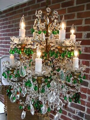 Antique French Maison Bagues Crystal Beaded Emerald Green Chandelier Light
