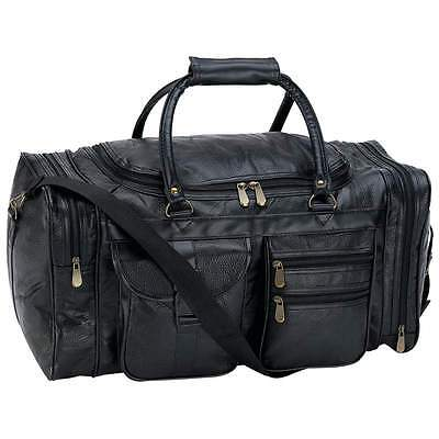 """Leather Duffel Tote Bag NEW 21"""" Black Pebble Grain Gym Carry On MEN'S Luggage"""